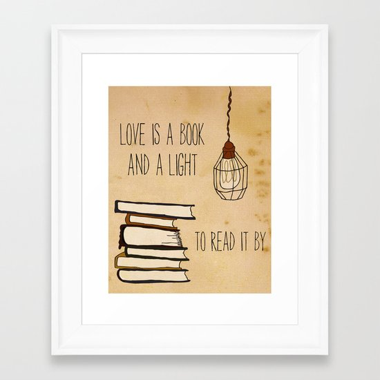Love Is A Book Framed Art Print