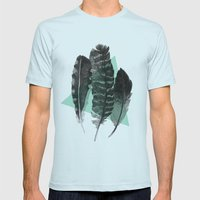 feathers Mens Fitted Tee Light Blue SMALL