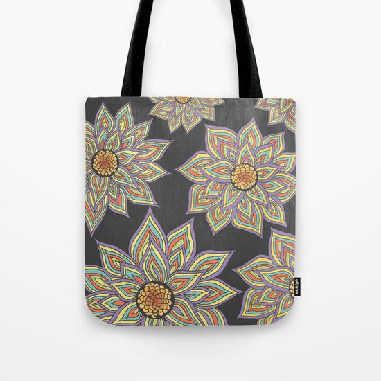 Floral Rhythm In The Dark Tote Bag