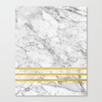 Marble & Gold Stripes Canvas Print