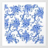 Paisley: Blue China Comb… Art Print