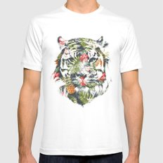 Tropical tiger White Mens Fitted Tee SMALL