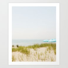 Blue Beach Umbrellas Art Print