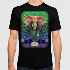 Wandering Elephant SMALL Black Mens Fitted Tee