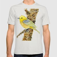 Yellow Warbler Tilly Mens Fitted Tee Silver SMALL