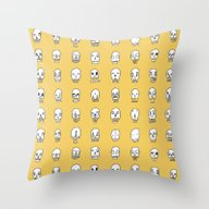 Funny Skulls Yello Throw Pillow