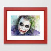 The Joker Watercolor Framed Art Print
