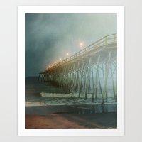 Kure Beach NC Fishing Pier at Night Painterly Art Print