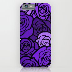 Romantic Purple roses with black outline iPhone 6s Slim Case