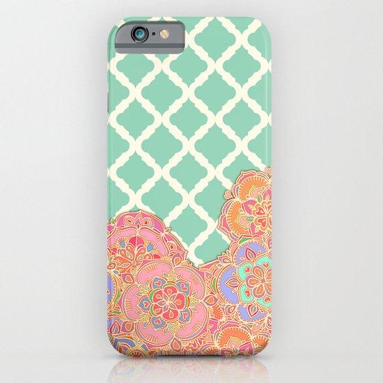Floral Doodle on Mint Moroccan Lattice iPhone & iPod Case