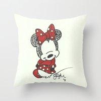 Minnie Mouse Zen Tangle Throw Pillow