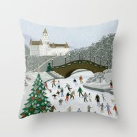 Ice Skating Pond Throw Pillow