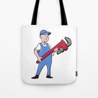 Mechanic Cradling Pipe Wrench Cartoon Tote Bag
