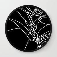 Cracked White on Black Wall Clock
