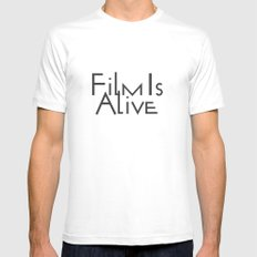 Film Is Alive SMALL White Mens Fitted Tee