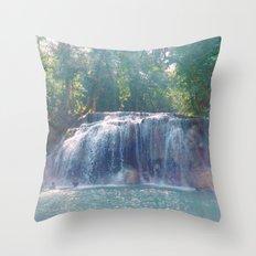 Turquoise Waterfall Throw Pillow