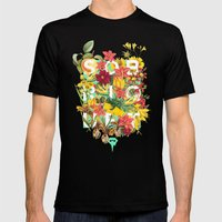 Flora Tropical. Mens Fitted Tee Black SMALL