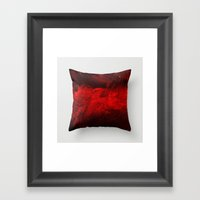 Dark Red Throw Pillow Framed Art Print