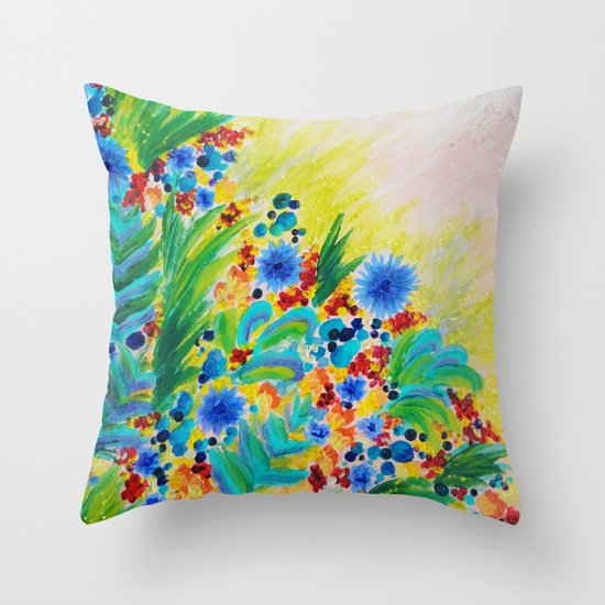 NATURAL ROMANCE - Lovely Bright Floral Garden Sweet Happy Feminine Colorful Rainbow Flowers Painting Throw Pillow