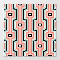 Coral Stripe Mod Canvas Print