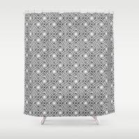 Black And White Broken D… Shower Curtain