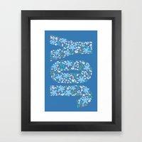 JOY - Medium Blue Framed Art Print