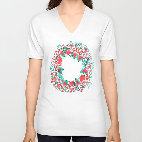 The Earth Laughs in Flowers – Pink & Charcoal V-neck T-shirt