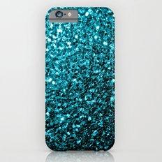 Beautiful Aqua blue glitter sparkles iPhone 6 Slim Case