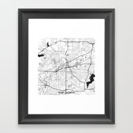 Fort Worth Map Gray Framed Art Print