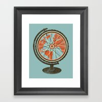 Cycling Around The World Framed Art Print