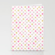Lines and blocks within a polka dot pattern Stationery Cards