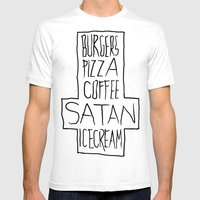 pizza & moar Mens Fitted Tee White SMALL