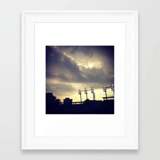 Baseball Night  Framed Art Print