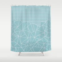 Ab Outline Grid Salty Shower Curtain