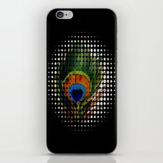 BLACK PEEKING PEACOCK iPhone & iPod Skin