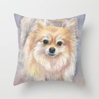 Pomeranian Watercolor Po… Throw Pillow