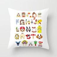 Super Mario Alphabet Throw Pillow