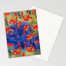 The deep water- koi fishes - watercolor  Stationery Cards