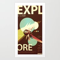 Vintage Space Poster Series I - Explore Space - It's Fun! Art Print