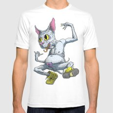 Jewcat White SMALL Mens Fitted Tee