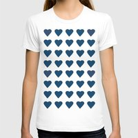 64 Hearts Navy Womens Fitted Tee White SMALL