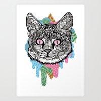 DRIPPY CAT Art Print