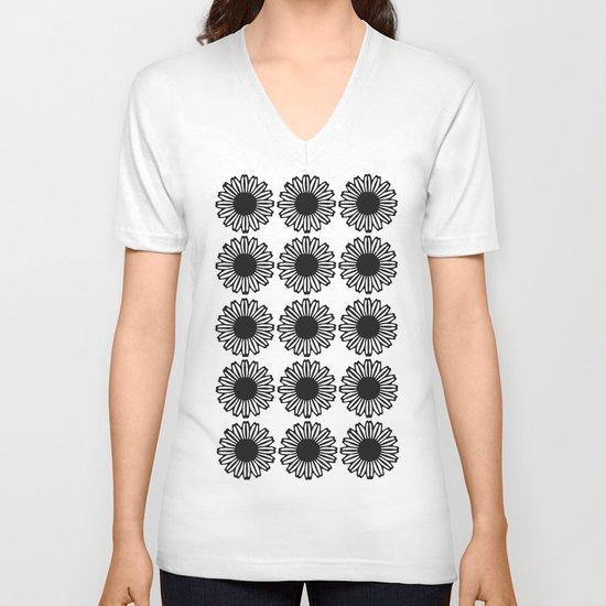 Vintage Flower_Black V-neck T-shirt