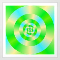 Green Blue and Yellow Concentric Circles Art Print