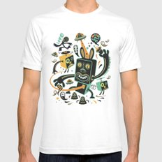 Little Black Magic Rabbit Mens Fitted Tee White SMALL