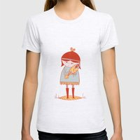 girl holding a bird Womens Fitted Tee Ash Grey SMALL