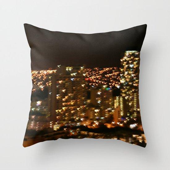 Honolulu City Lights Throw Pillow
