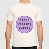 Start Wearing Purple Mens Fitted Tee Natural SMALL