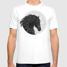 Black Horse Mens Fitted Tee White SMALL