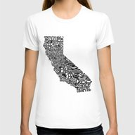 Typographic California Womens Fitted Tee White SMALL